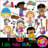 INSTRUMENTS - B/W & Color clipart {Lilly Silly Billy}
