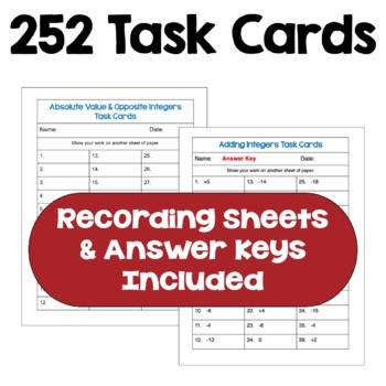 Integer Task Card BUNDLE (Differentiated with 3 Levels)