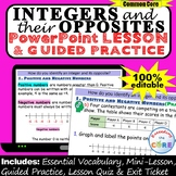 INTEGERS & THEIR OPPOSITES PowerPoint Lesson & Practice |