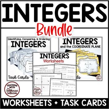 INTEGERS BUNDLE - 3 Worksheets, 1 Assessment, 44 Task Cards (CCSS.6.NS.C.5-7)