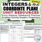 INTEGERS & COORDINATE PLANE Error Analysis, Word Problems, HW Practice BUNDLE