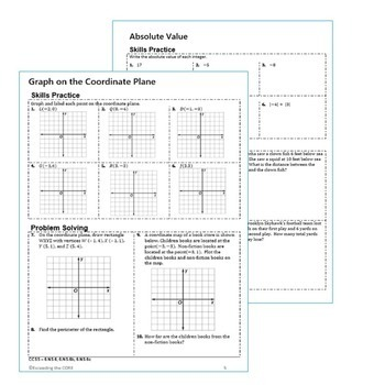 INTEGERS & COORDINATE PLANE Error Analysis, Word Problems, HW Practice BUNDLE