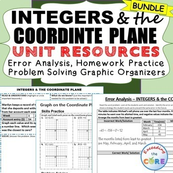 INTEGERS & COORDINATE PLANE Error Analysis, Word Problems,