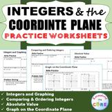 INTEGERS & COORDINATE PLANE Homework Worksheets: Skills Practice & Word Problems