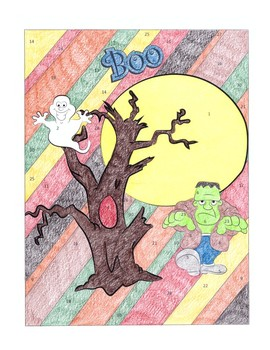 INTEGERS - Color-by-Number Activity - HALLOWEEN theme