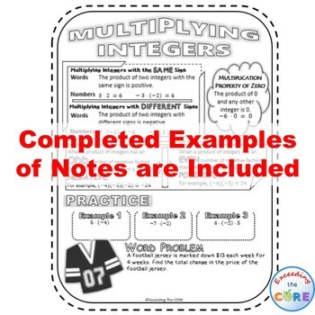 INTEGERS Doodle Notes - Interactive Math Notebooks