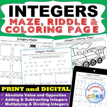 INTEGERS Maze, Riddle & Color by Number (Fun MATH Activities)