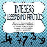 INTEGERS RULES, NUMBER LINE, NOTES AND PRACTICE PROBLEMS WORKSHEETS
