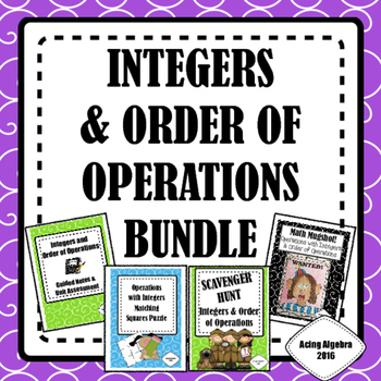 INTEGERS & ORDER OF OPERATIONS BUNDLE!!