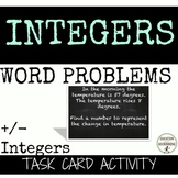Positive and Negative Integer Word Problems Task Card Activity for 6th grade