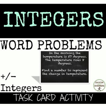 Positive and Negative Integer Word Problems Task Card Acti