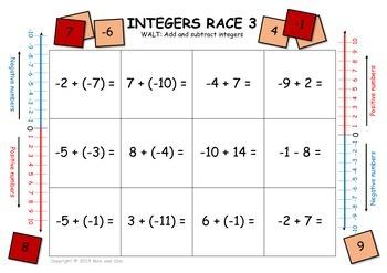 INTEGERS RACE - WALT: add and subtract integers