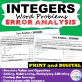 INTEGERS Word Problems Error Analysis | Find the Error | D
