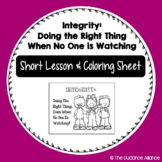 FREEBIE on Integrity - Short Lesson and Coloring Sheet (1st - 4th)