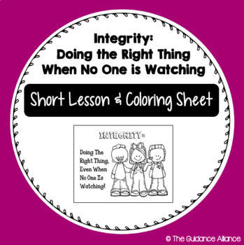 Freebie On Integrity Short Lesson And Coloring Sheet 1st 4th