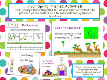 WHITEBOARD Addition Skills (includes number line) - Spring