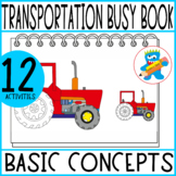 Transportation Busy Book Prek K and Sped hands-on learning Toddler Binder