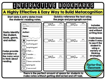 Reading Log for Homework | Annotating Texts| INTERACTIVE BOOKMARKS | Annotation
