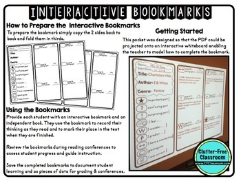 Reading Log for Homework | Annotating Texts| INTERACTIVE BOOKMARKS | EDITABLE