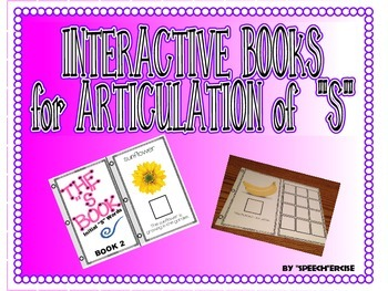 """SPEECH THERAPY INTERACTIVE BOOKS for ARTICULATION of """"S"""""""