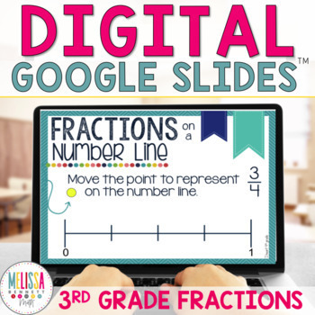 INTERACTIVE Fractions on a Number Line Digital Task Cards