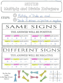 INTERACTIVE NOTEBOOK Multiply & Divide Integers RULES Graphic Organizer