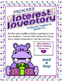 INTEREST INVENTORY for Elementary - Primary Students
