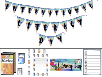 LITERACY DAY BUNDLE- BULLETIN BOARD- BOOK GENRES- WRITING FRAMES-ACROSTIC POEMS