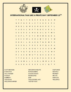INTERNATIONAL TALK LIKE A PIRATE DAY: A FUN WORD SEARCH