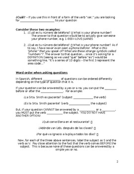 INTERROGATIVES NOTES AND WKST HW Spanish I Realidades 4 4a question words w/ key
