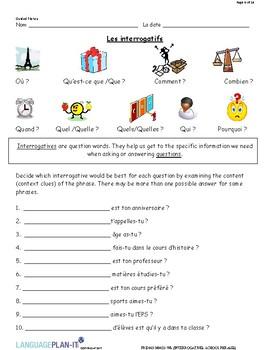 INTERROGATIVES, SCHOOL PHRASES (FRENCH)