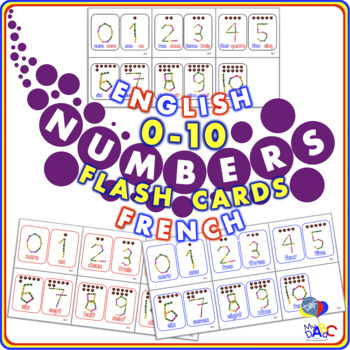 Interstar Numbers 0 to 10 Flash Cards in English and French