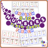 Numbers 0-10 FLASH Cards | English and French for Kids