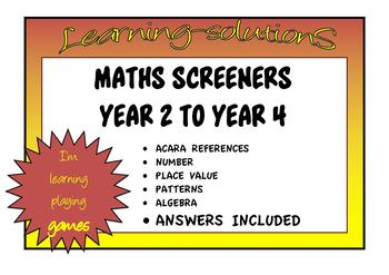 INTERVENTION MATHS SCREENERS ACARA Gr.2-4 Place Value/Number/Patterns/Algebra