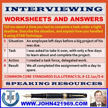 INTERVIEWING WORKSHEETS WITH ANSWERS