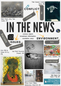 IN THE NEWS - theme mind-map interactive artist links - AQA GCSE ESA 2018
