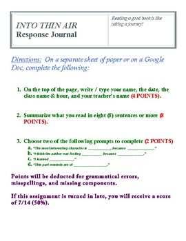 INTO THIN AIR Response Journal