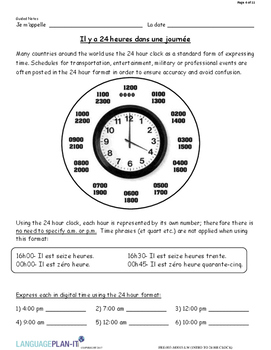 INTRO TO 24 HOUR CLOCK (FRENCH 2017 EDITION)