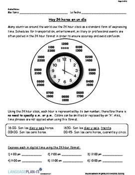 INTRO TO 24 HOUR CLOCK (SPANISH)