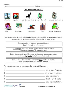 INTRO TO SCHOOL ACTIVITIES (FRENCH)