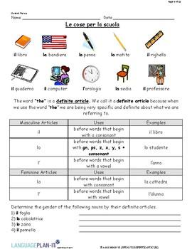 INTRO TO DEFINITE ARTICLES (ITALIAN)