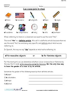 INTRO TO DEFINITE ARTICLES (SPANISH)