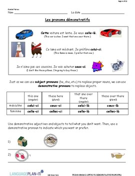 INTRO TO DEMONSTRATIVE PRONOUNS (FRENCH)