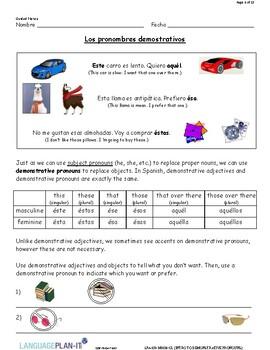 INTRO TO DEMONSTRATIVE PRONOUNS (SPANISH)