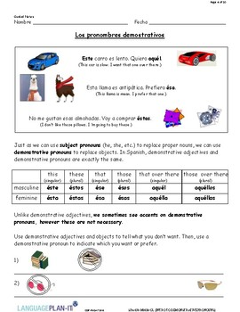 INTRO TO DEMONSTRATIVE PRONOUNS (SPANISH)