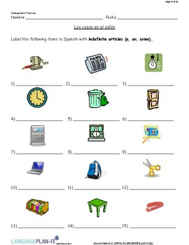 INTRO TO INDEFINITE ARTICLES (SPANISH)