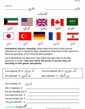 INTRO TO NATIONALITIES (ARABIC)