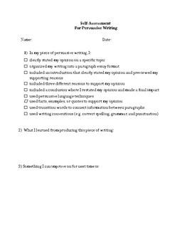 INTRO TO PERSUASIVE WRITING HANDOUT, GRADE 6 7 8, ONTARIO CURRICULUM