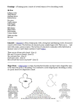 INTRO TO POETRY UNIT HANDOUT, GRADE 6 7 8, ONTARIO CURRICULUM, RUBRIC INCLUDED
