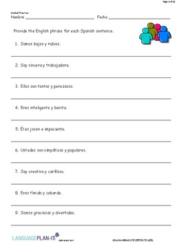 INTRO TO SER (SPANISH)
